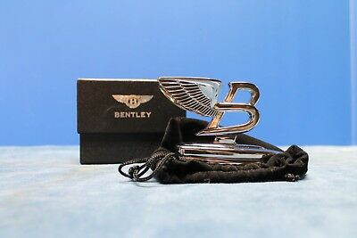 """Bentley """"flying B """" Polished Chrome Paperweight New In Gift Box W/pouch"""