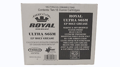 10 Pk Royal Ultra 865M NLGI #2 Calcium Sulfonate Grease 15Oz 5% Moly Tubes