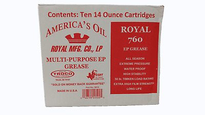 10 Pk Royal 760 Polyplate EP Fifth Wheel Grease 14 Oz Tubes