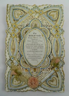 Antique Victorian paper lace scraps greetings Valentine card The Balm of Love #6