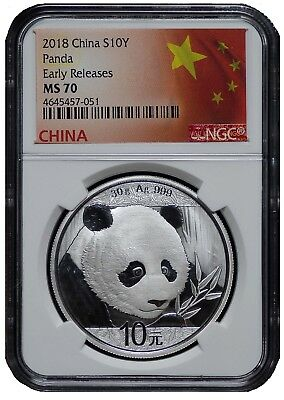 2018 China 10 Yuan Silver Panda NGC MS70 - Early Releases - Flag Label