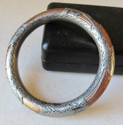 Antique Chinese JAPANESE Silver BANGLE BRACELET Goldstone Asian AS FOUND