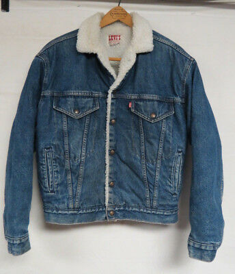 Vintage Levis Fleece Sherpa Lined Denim Jacket Youth Size Xl Snap Front