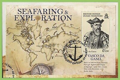 B.I.O.T. 2009 Vasco Da Gama, map miniature sheet used on piece