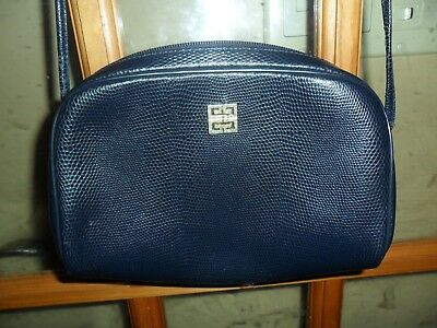 dfebd6d9f8 Vintage Givenchy Crossbody Bag Handbag Purse Navy Blue Embossed Lizard