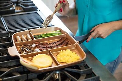 5-in-1 Non-Stick Multi-Compartment Frying Pan Heat Resistant Grill/Oven/Skillet