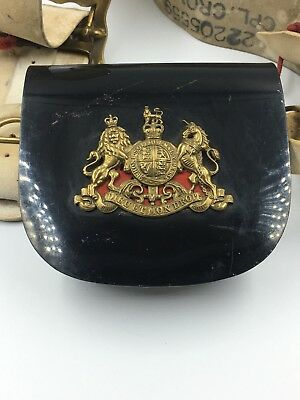 Royal Horse Guards/ Calvary Buff Belt and Patent Pouch w/Brass Badge