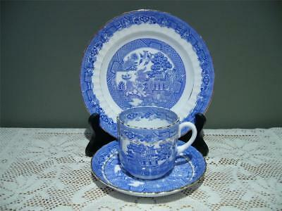 Royal Stafford Willow Pattern Small Tea / Large Demi Gilt Trio - Lighter Blue