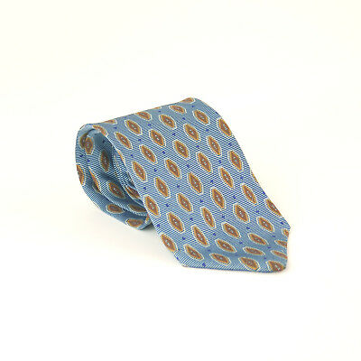 Ermenegildo Zegna 100% Silk Blue Brown Tub Design Wide Fit Men's Tie