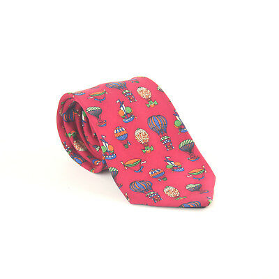 Lanvin Paris 100% Silk Red Ballon Design Wide Fit Men's Tie