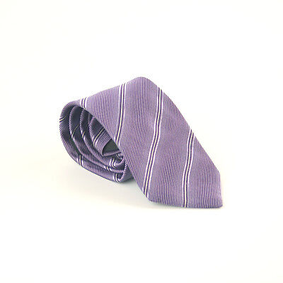 Lanvin of Paris 100% Silk Purple Stripe Design Classic Fit Men's Tie