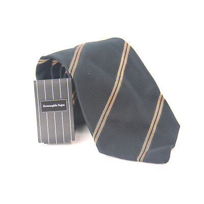 Ermenegildo Zegna 100% Silk Black Gold Design Wide Fit Men's Tie