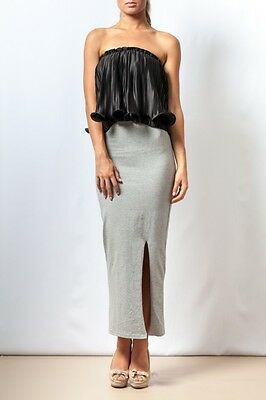NEW Women's Evening Cocktail High Waisted Bodycon Grey Slit Maxi Skirt MISSKADIA