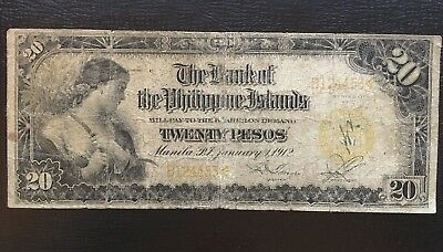 1912 Philippines Rare 20 Pesos. P 9b Garcia, Sendres 1 of only 145K. In USA