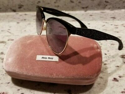 5f163bb9a75b MIU MIU SMU 54Q 1AB-3E2 Sunglasses w SPARKLY Rock Crystal Temple Accents ❤