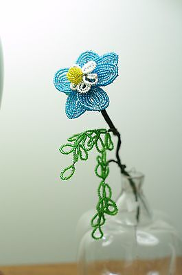 Vintage French Glass Seed Hand Beaded Wire Flowers Blue with Cascading Leaves