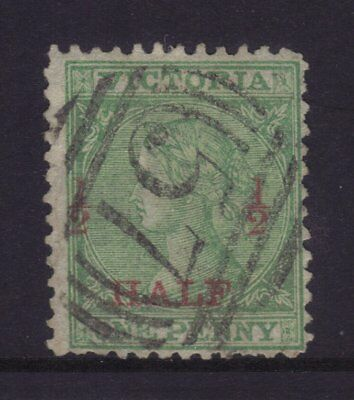 VICTORIA 1873 ½d on 1d Green Laureates V/Crown Perf 12 Fine Used.Sg 175,ASC 36