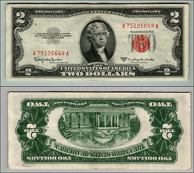 1953C $2 Dollar Bill Us Note Legal Tender Paper Money Currency Red Seal J267