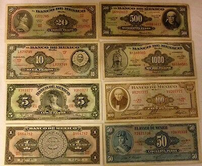 Mexico Old Pesos In Paper Money Lot Of 8