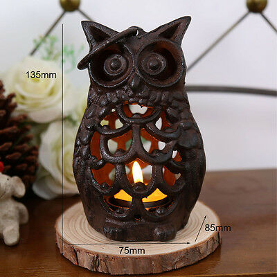 KiaoT Vintage Rustic Cast Iron Owl Candle Holder Tealight Candleholder Lantern