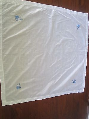 Vintage Linen Tablecloth white with hand embroidered blue flowers 87cm square