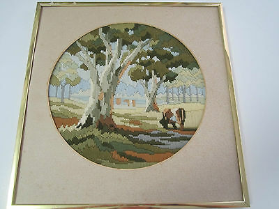 SEMCO Long Stitch Country Scene Trees and cow Completed Framed