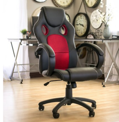 Best Computer Desk Leather Swivel Chair Executive Office Gaming Chair Black Red