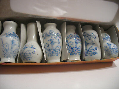 6 Dollhouse Miniatures Ceramics Porcelain Vases Blue delph China house mountains