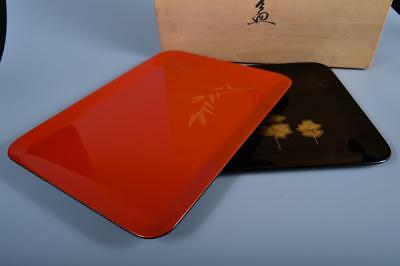 J6919: Japanese Lacquer ware WOODEN TRAY/plate, Beiei made w/signed box