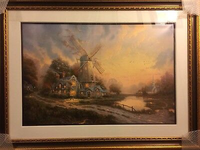 """Thomas Kinkade The Wind of the Spirit Lithograph 24"""" x 36"""" Framed with COA"""