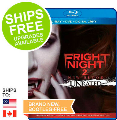 Fright Night 2 New Blood Unrated (Blu-ray + DVD + Digital 2013) NEW, Will Payne
