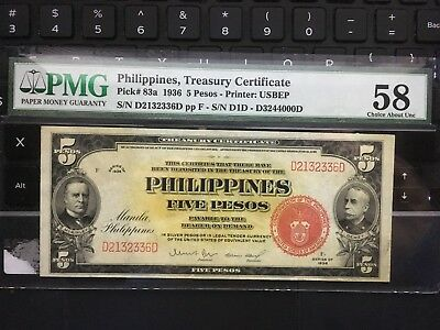 1936 US Philippines 5 Pesos PMG 58 P83a, In the USA