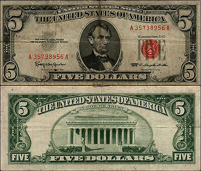 1- 1963  $5 Dollar Bill Red Seal United States Currency LOT Y423