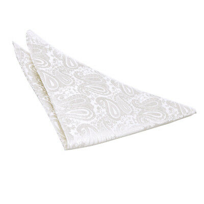 DQT Woven Floral Paisley Ivory Formal Handkerchief Hanky Pocket Square
