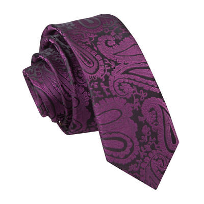 DQT Woven Floral Paisley Purple Formal Wedding Mens Skinny Tie