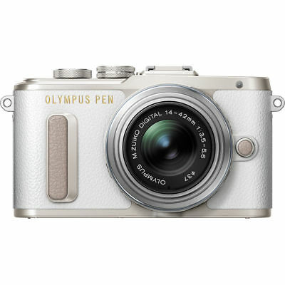 Olympus PEN E-PL8 Body with 14-42mm EZ Lens Mirroless Digital Cameras - White