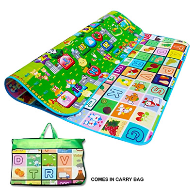 2 Side Play Mat Kids Crawling Educational Game Soft Foam Picnic Carpet 200X180cm