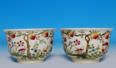 Pair Nice Rare Chinese Famille Rose Porcelain Bowls Marked HongXian FA610 AC