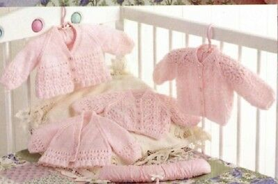 Baby Knitting Pattern Premature Matinee Jackets copy  in 4 Ply