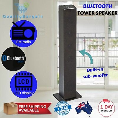 Bluetooth Black Tower Speaker with MP3 AUX FM Radio Docking Cradle Subwoofer RC
