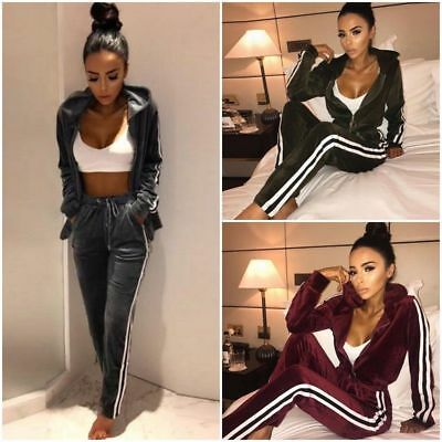 Womens 2PCS Hoodies Tracksuit Velvet Coat Jacket Lounge Wear Sport Suit Jogging