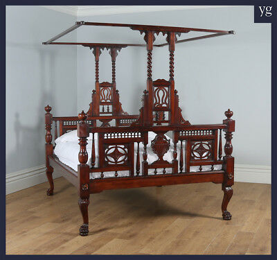"Antique 5ft 10"" Colonial Raj Victorian Bombay Mahogany Four Poster Bed King Size"