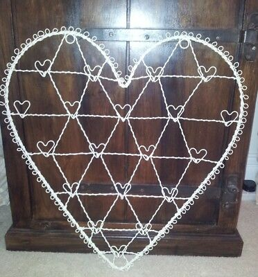 Cream Vintage Wire Heart Photo Card Memo Jewellery Holder 56cms X 51cms