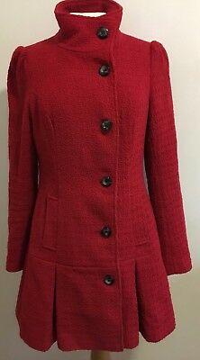 Vintage 1960s Womens Red Tailored Coat Wool Blend SOUTH Size 10 uk Mod 60s