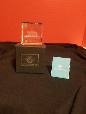 Longaberger Crystal Impressions Laser Etched Paperweight NIB