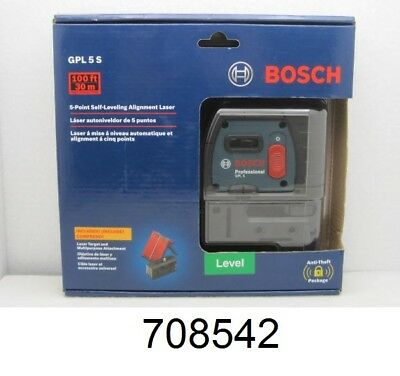 NEW SEALED! Bosch GPL 5 S Self-Leveling Alignment Laser 5-Point 100 ft 30m