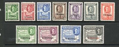 Somaliland Protectorate 1951 George Vi Sg125-135 Set To 5/- Ovpt - Mounted Mint