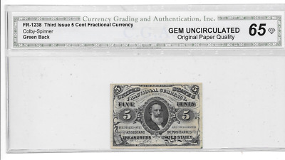 Scarce In This Grade 1863 5 Cents 3Rd Issue Fractional Currency Gem 65