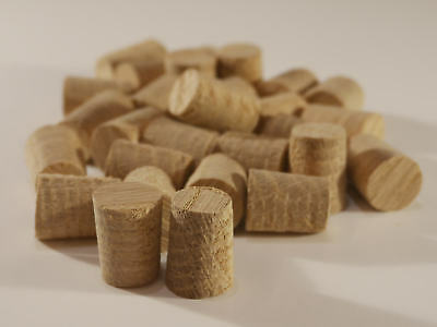 "European Oak Hardwood Plugs 8, 10, 12, 14 16mm & 1/2""(12.7mm) -  Tapered Pellets"