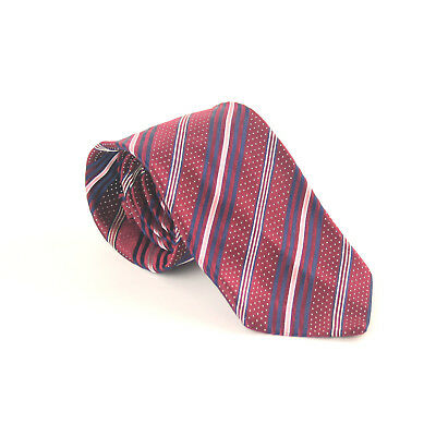 Ermenegildo Zegna 100% Silk Red Stripe Design Wide Fit Men's Tie